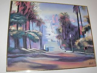 Lee Reynolds beach city scene vibrant colour palm trees & buildings