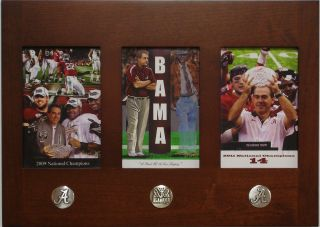 2009 & 2011 National Championship 3 in1 framed Nick Saban Bear Bryant