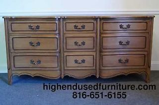 RWAY French Provincial 71 Nine Drawer Triple Dresser
