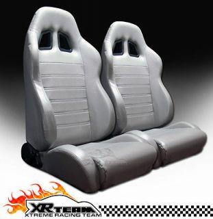Leather Grey Racing Bucket Seats+Sliders New LH+RH 18 (Fits Vanagon
