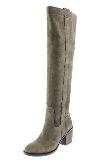 BCBG NEW Boss Gray Suede Block Heel Over The Knee Boots Shoes 7 BHFO