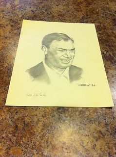 Ben Hogan Golf Sketch Lithograph William Van Zandt 14x10 1986 RARE