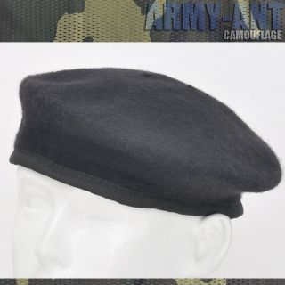 NEW Black Beret Hat Army Military Cap Airsoft Cover Hats Cap Size L