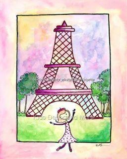 PARIS Eiffel Tower ooh la la Pink Girl KID Crib bedding NURSERY WALL