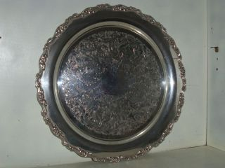 Large Heavy Oneida Silver Plate Flower pattern 15inch Serving Tray