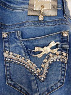 LA Idol Jeans Plus Size Crystal Buckle Jeweled Pockets Skinny Stretch