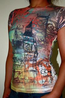Big Ben Clock Tower London Graffiti Bus Bridge Juniors Girls Shirt