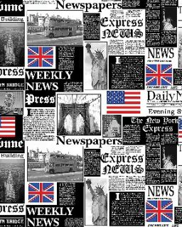 NEW YORK LONDON WEEKLY NEWS FABRIC EMPIRE STATE UNION JACK DOUBLE