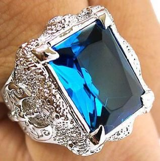 BIG BLUE TOPAZ DRAGON CLAW AXE SILVER PLATED RING 10.5