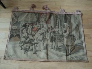 VINTAGE TAPESTRY WALL HANGING VICTORIAN SCENE PINK BEIGE GRAY SIGNED