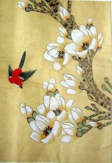 Asian Japanese Hand Painted Silk Painting *Flower & Bird*@665