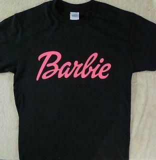 BARBIE~ LOGO HOT PINK PRINT ON A BLACK T SHIRT TEE~SMALL THRU 2XL NEW