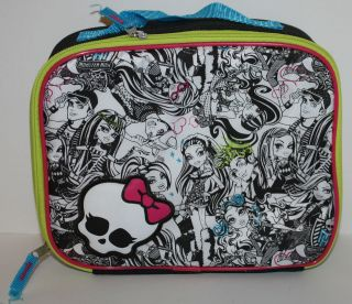 Monster High Black & WHite Insulated Lunch Bag Tote 10X8X3 NWT