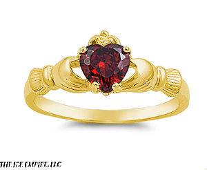 18K Gold Plated Sterling Silver JANUARY RED GARNET HEART Claddagh Ring