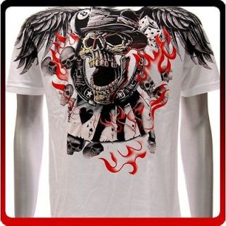 XXL Artful T shirt Tattoo Handmade Skull Gamble Card Dice Skate Bike