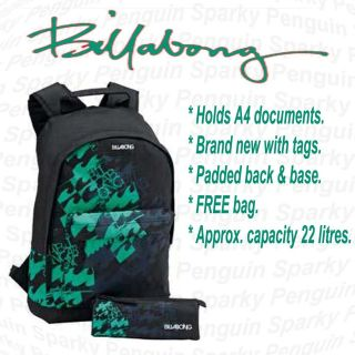 Billabong Black & Green Mens/Boys Backpack Rucksack School Bag Set inc