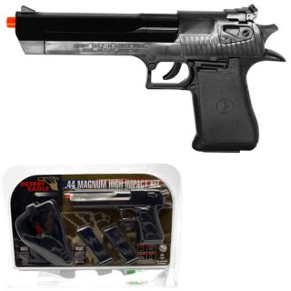 .44 Magnum Spring Airsoft Gun Pistol Kit w/ Holster & Two Mags Blk