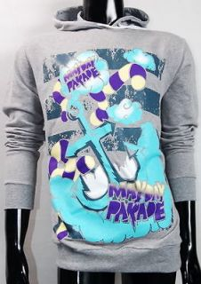 Parade Fearless Blue Anchor Alternative Rock Grey Hoodie Tee S,M,L