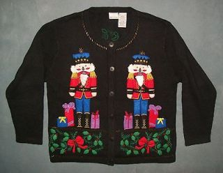 CHRISTMAS SWEATER PARTY Womens BOBBIE BROOKS Toy Soldier Cardigan L