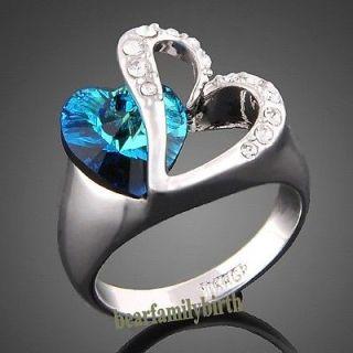 18K white GOLD GP Swarovski crystal heart with blue stone ring 1766