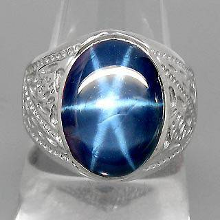 ELEGANT 100%NATURAL 6 RAYS BLUE STAR SAPPHIRE 925 SILVER RING SIZE 10