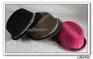 Bling Studs Decor Corduroy Fashion Women Men Unisex Panama Fedora Hats
