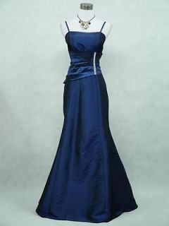 Cherlone Satin Dark Blue Sparkle Long Prom Ball Gown Party Evening