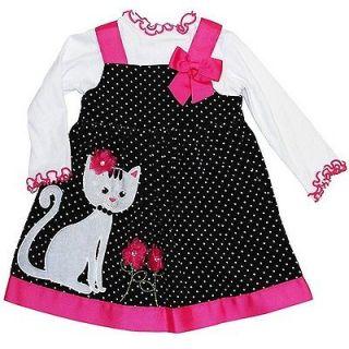 New Toddler Girls Bonnie Jean sz 2T Black Pink Dot CAT Jumper Dress