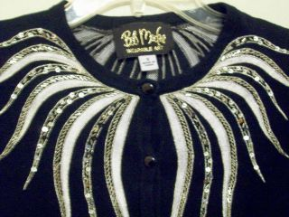 BOB MACKIE WEARABLE ART BLACK & WHITE SILVER EMBROIDER SEQUINS SWEATER