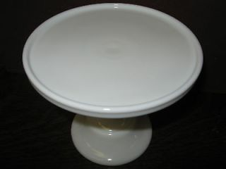 White Milk Glass cake serving stand / plate platter pedistal raised