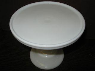 White Milk Glass cake serving stand / plate platter pedistal raised