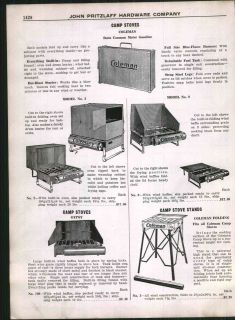 1928 AD Coleman Camp Stove Gypsy Gas Gasoline Blue Flame Burners