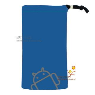 Blue Android Velvet Pouch Bag Case For Sony Xperia Arc S neo ZTE V880E