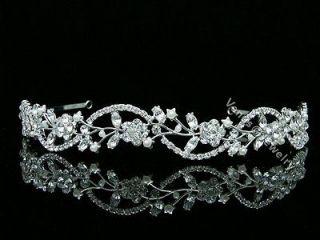 Bridal Floral Rhinestone Crystal Pearl Prom Wedding Headband Tiara