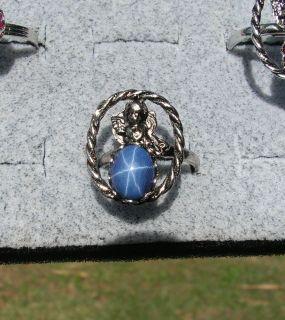 LINDE LINDY CF BLUE STAR SAPPHIRE CREATED RHOD PLTD NONPRECIOUS METAL