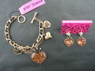 New Betsey Johnson Crown leopard peach heart bracelet earrings