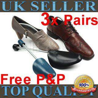 3x Pairs High Quality Mens & Ladies Traditional Shoe Tree Plastic