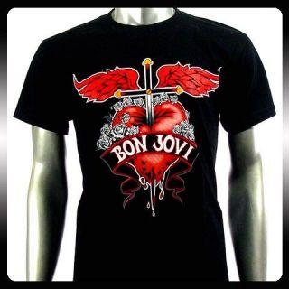 Bon Jovi Punk American Metal Rock Band T shirt Sz M Bo13