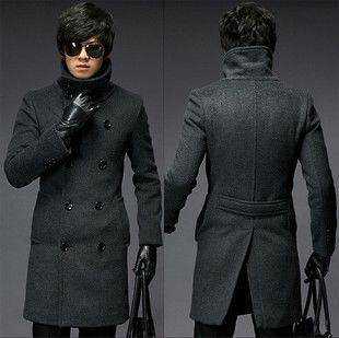 Mens Classic Fashion Double Breasted Trench Coat Dark Grey Size US/UK