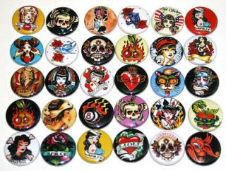 RETRO TATTOO BADGES x 30 Buttons Wholesale Bulk Lot