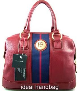 NEW NWT TOMMY HILFIGER $198 RED BLUE LEATHER BOWLER SATCHEL BAG