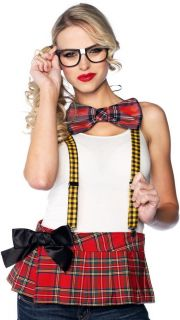 Sexy Nerd Kit Suspenders Bow Tie Glasses Halloween Costume Kit