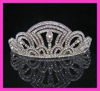 Wedding/Bridal crystal veil tiara crown headband CR230