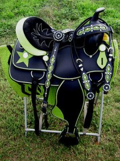 18 WESTERN CORDURA TRAIL BARREL PLEASURE SADDLE LIME GREEN STAR TACK