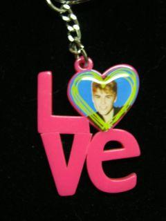 new Justin Bieber pink love photo key chain Pop star teen idol pop
