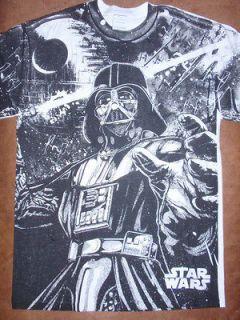 Mens Star Wars Darth Vader Death Star Black and White T Shirt New