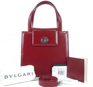 AUTHENTIC BVLGARI RED LEATHER HAND BAG PURSE MADE IN ITALY w/ SHOULDER