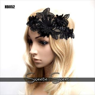 Celeb Black Flower Lace Hair Band Headband Fancy Fascinator Headpiece
