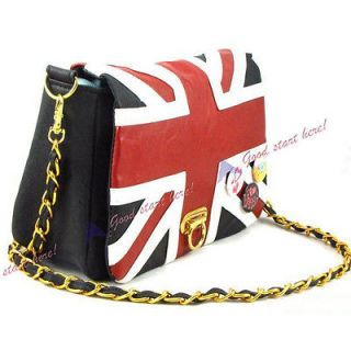 Women Korea Style With UK Flag Union Jack Badge Chain Shoulder Bag