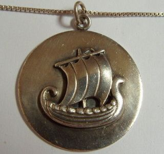Signed A Just Denmark Sterling Viling Ship Pendant